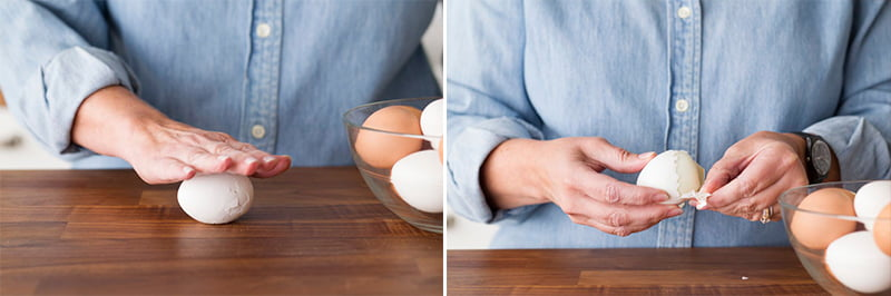 جدا کردن پوست تخم مرغ آب پز
