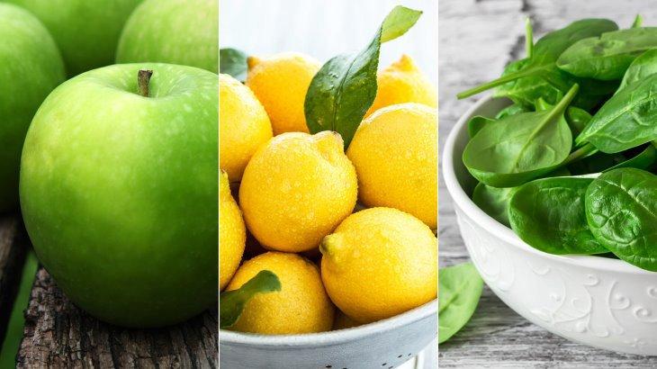 اسموتی سیب، اسفناج و لیمو