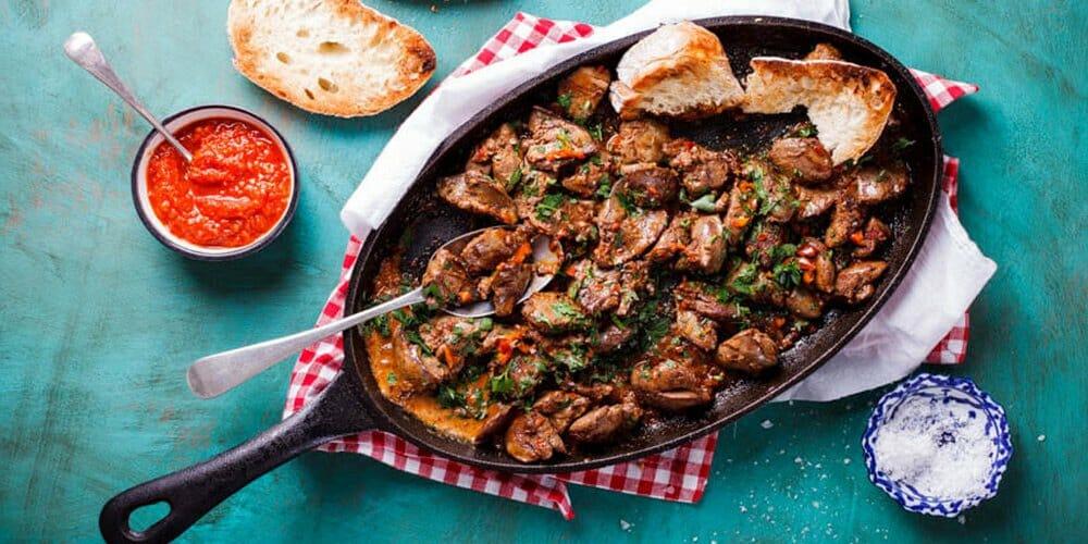 طرز تهیه خوراک جگر مرغ با سیبزمینی