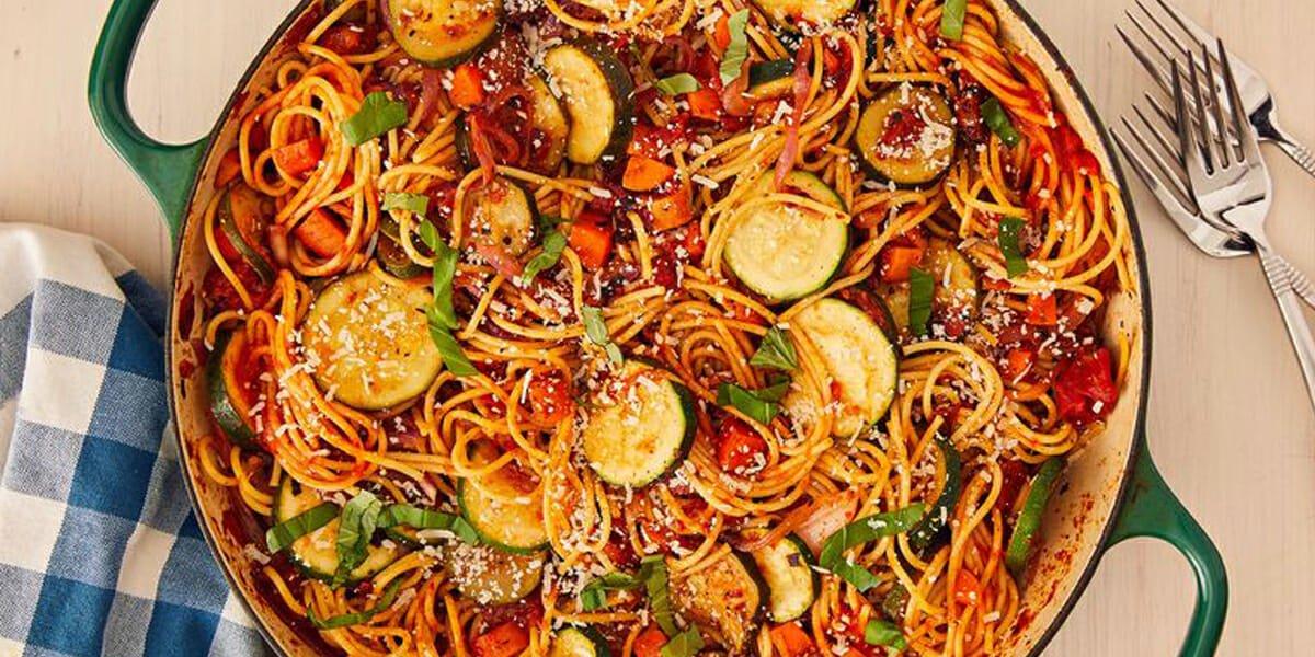 طرز تهیه اسپاگتی گیاهی
