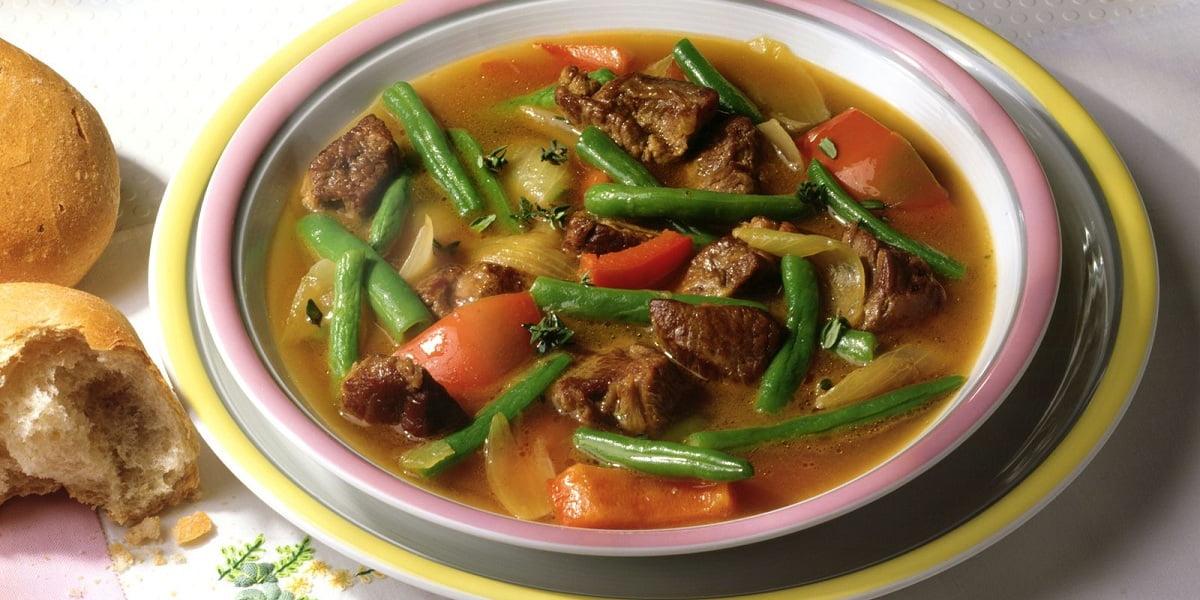خوراک لوبیا سبز رژیمی با گوشت